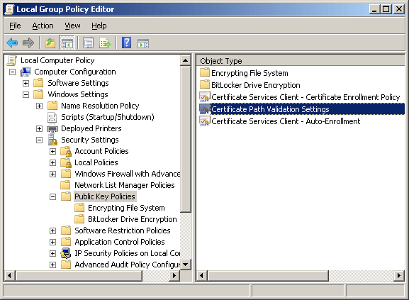 Certificate path validation settings.