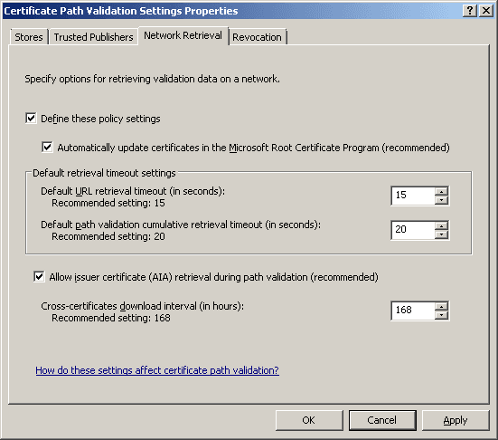 certificate path validation settings, network retrieval